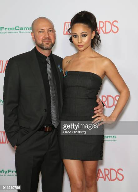 Adult film actor Jack Spade and adult film actress Ariana Marie attend the 2018 Adult Video News Awards at the Hard Rock Hotel Casino on January 27...