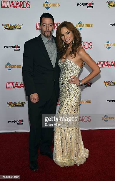 Adult film actor Jack Vegas and adult film actress Amber Rayne attend the 2016 Adult Video News Awards at the Hard Rock Hotel Casino on January 23...