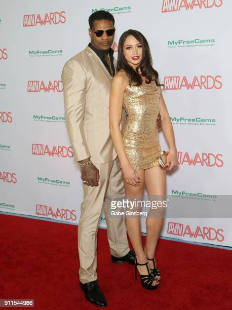 Adult film actor Jason Luv and adult film actress Avi Love attend the 2018 Adult Video News Awards at the Hard Rock Hotel Casino on January 27 2018...