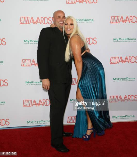 Adult film actor Johnny Phoenix and adult film actress Macy Cartel attend the 2018 Adult Video News Awards at the Hard Rock Hotel Casino on January...