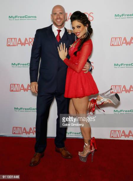 Adult film actor Johnny Sins and adult film actress Kissa Sins attend the 2018 Adult Video News Awards at the Hard Rock Hotel Casino on January 27...