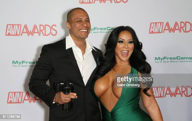 Adult film actor Keegan Kade and adult film actress Kiara Mia attend the 2018 Adult Video News Awards at the Hard Rock Hotel & Casino on January 27,...
