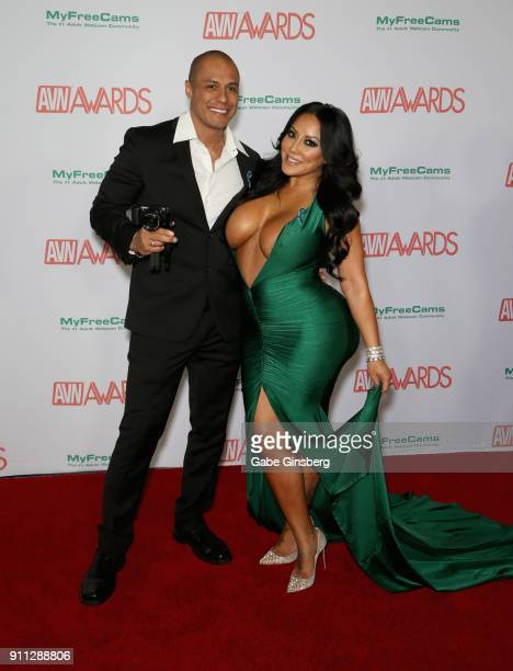 Adult film actor Keegan Kade and adult film actress Kiara Mia attend the 2018 Adult Video News Awards at the Hard Rock Hotel Casino on January 27...