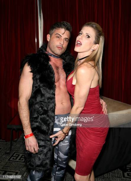Adult film actor Lance Hart and adult film actress Cory Chase pose in the Press Room at the 2019 AVN Adult Entertainment Expo at the Hard Rock Hotel...