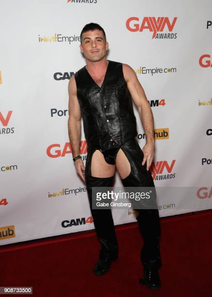 Adult film actor Lance Hart attends the 2018 GayVN Awards show at The Joint inside the Hard Rock Hotel Casino on January 21 2018 in Las Vegas Nevada