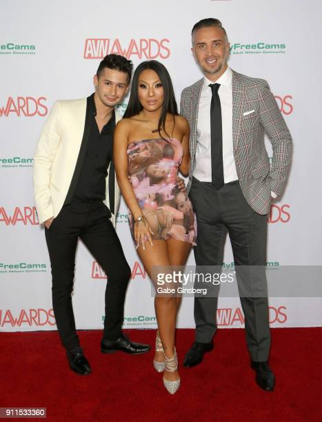 Adult film actor Liam Riley, adult film actress/director Asa Akira and adult film actor/director Kieran Lee attend the 2018 Adult Video News Awards...