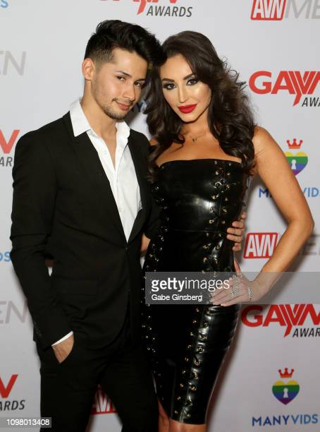 Adult film actor Liam Riley and adult film actress Christiana Cinn attend the 2019 GayVN Awards show at The Joint inside the Hard Rock Hotel Casino...