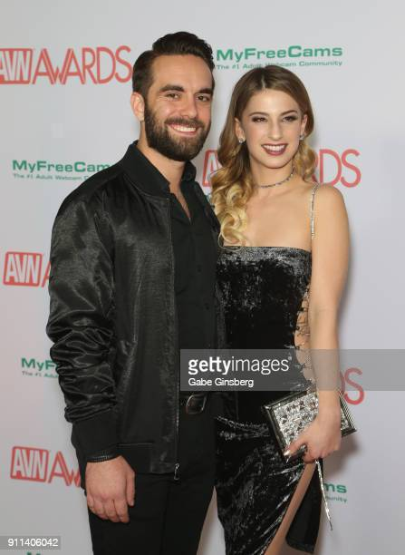 Adult film actor Logan Pierce and adult film actress Kristen Scott attend the 2018 Adult Video News Awards at the Hard Rock Hotel Casino on January...