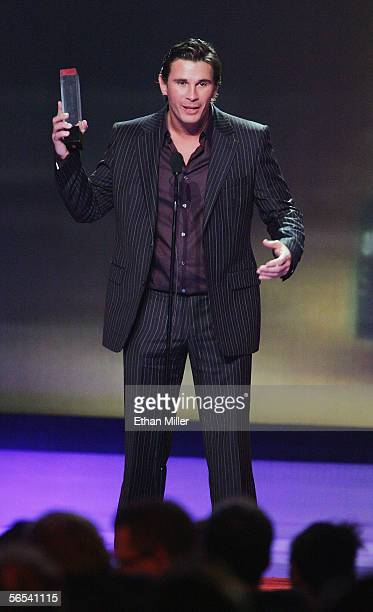 Adult film actor Manuel Ferrara accepts the Male Performer of the Year award at the Adult Video News Awards Show at the Venetian Resort Hotel and...