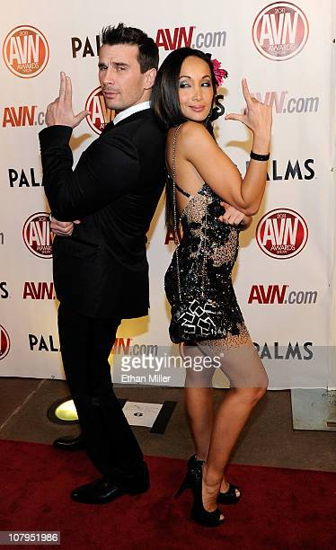 Adult film actor Manuel Ferrara and adult film actress Katsuni arrive at the 28th annual Adult Video News Awards Show at the Palms Casino Resort...