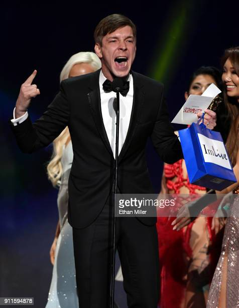 Adult film actor Markus Dupree accepts the award for Male Entertainer of the Year during the 2018 Adult Video News Awards at The Joint inside the...