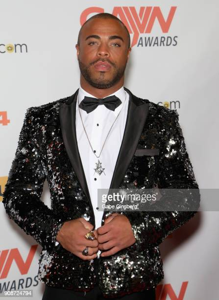 Adult film actor Micah Brandt attends the 2018 GayVN Awards show at The Joint inside the Hard Rock Hotel Casino on January 21 2018 in Las Vegas Nevada