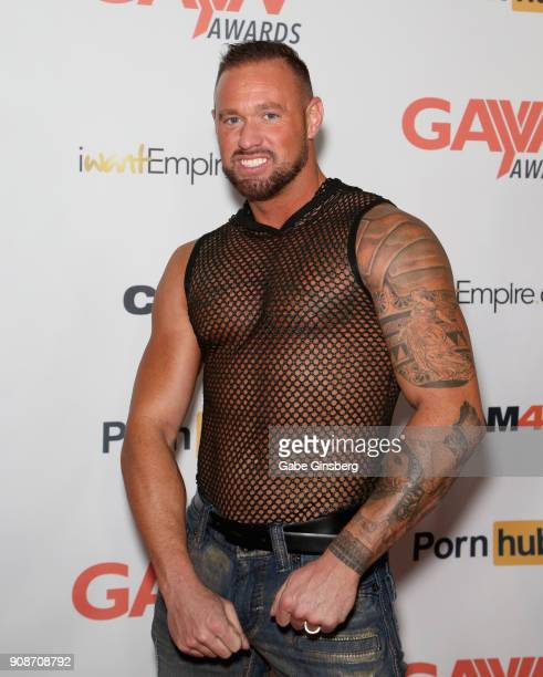 Adult film actor Michael Roman attends the 2018 GayVN Awards show at The Joint inside the Hard Rock Hotel Casino on January 21 2018 in Las Vegas...