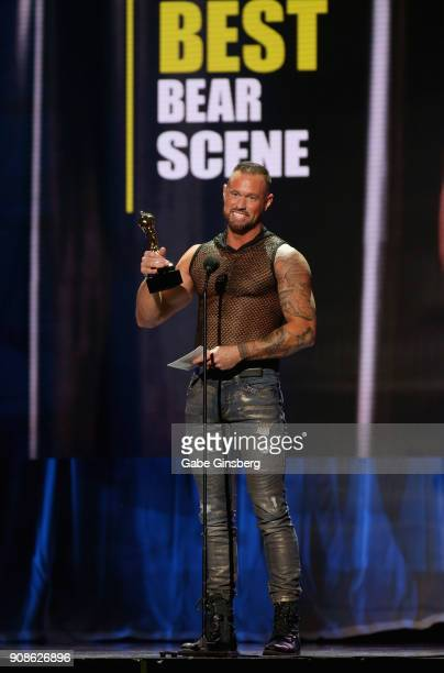 Adult film actor Michael Roman wins an award during the 2018 GayVN Awards show at The Joint inside the Hard Rock Hotel Casino on January 21 2018 in...