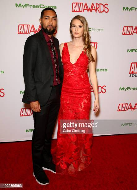 Adult film actor Mickey Mod and and adult film actress Ashley Lane attend the 2020 Adult Video News Awards at The Joint inside the Hard Rock Hotel &...