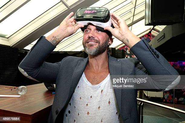 Adult film actor Nacho Vidal wears virtual glasses during the Erotic Fair Barcelona 2015 presentation on September 22 2015 in Barcelona Spain