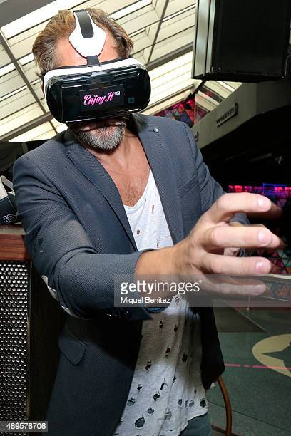 Adult film actor Nacho Vidal wears virtual glasses during the Erotic Fair Barcelona 2015 presentation on September 22, 2015 in Barcelona, Spain.