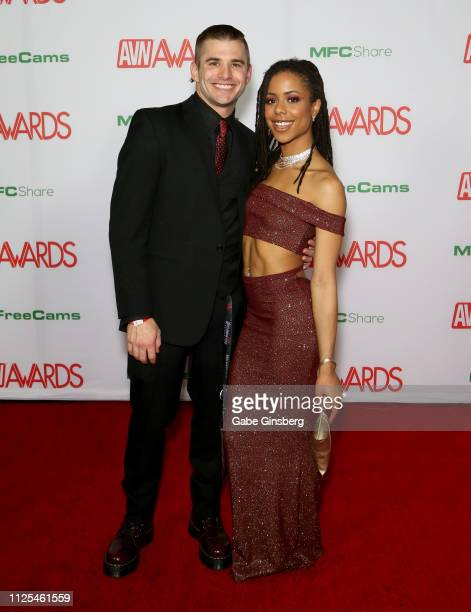 Adult film actor Nathan Bronson and adult film actress Kira Noir attend the 2019 Adult Video News Awards at The Joint inside the Hard Rock Hotel...