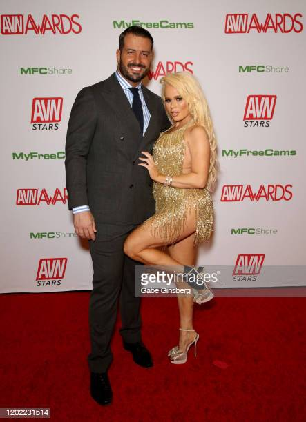 Adult film actor Romeo Mancini and adult film actress Nikki Delano attend the 2020 Adult Video News Awards at The Joint inside the Hard Rock Hotel...