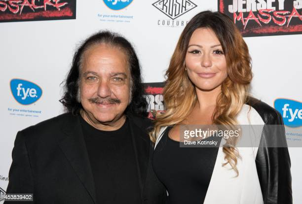 Adult film actor Ron Jeremy and Executive Producer Jenni JWoww Farley attends the Jersey Shore Massacre New York Premiere at AMC Lincoln Square...