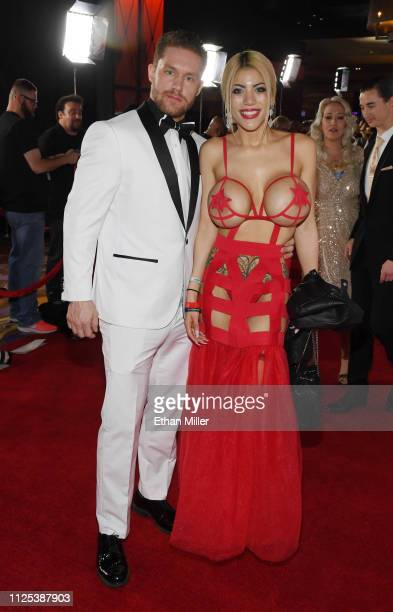 Adult film actor Sam Shock and webcam model Amber Alena attend the 2019 Adult Video News Awards at The Joint inside the Hard Rock Hotel Casino on...
