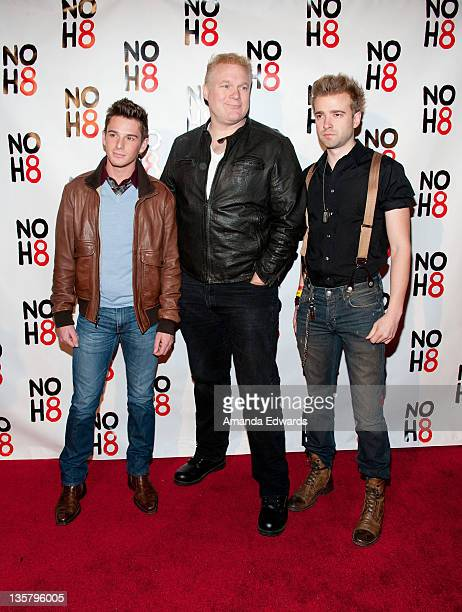 Adult film actor Sean Paul Lockhart director Tim Sullivan and actor Anton Troy arrive at the NOH8 Campaign's 3 Year Anniversary Celebration at House...