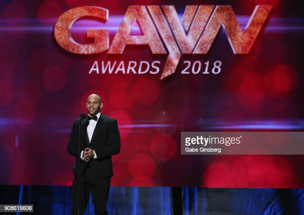 Adult film actor Sean Zevran speaks during the 2018 GayVN Awards show at The Joint inside the Hard Rock Hotel Casino on January 21 2018 in Las Vegas...