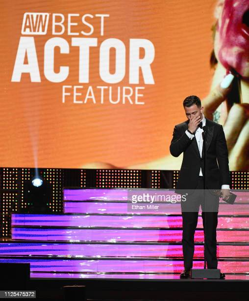 Adult film actor Seth Gamble accepts the award for Best Actor Feature for Deadpool XXX An Axel Braun Parody during the 2019 Adult Video News Awards...
