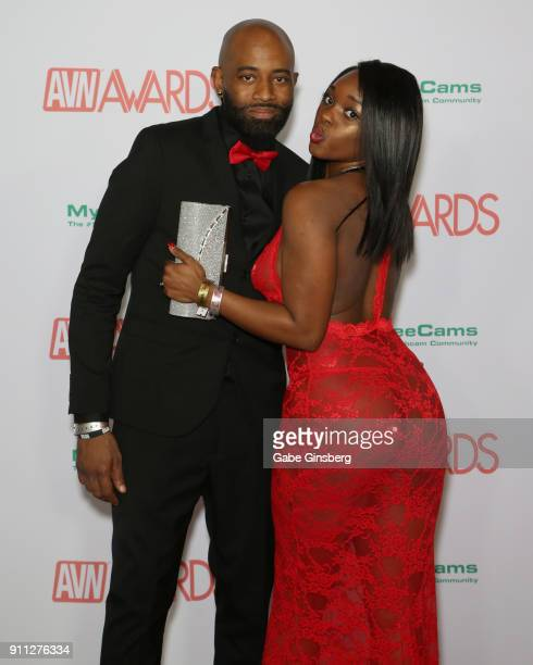Adult film actor Shaundam XXX and adult film actress Kassey Starr attend the 2018 Adult Video News Awards at the Hard Rock Hotel Casino on January 27...