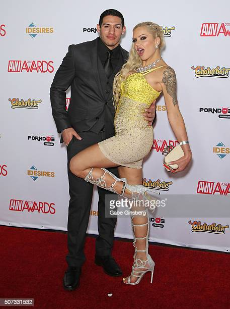 Adult film actor Tony Martinez and adult film actress Nina Elle attend the 2016 Adult Video News Awards at the Hard Rock Hotel Casino on January 23...