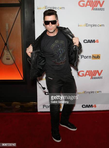 Adult film actor Trenton Ducati attends the 2018 GayVN Awards show at The Joint inside the Hard Rock Hotel Casino on January 21 2018 in Las Vegas...