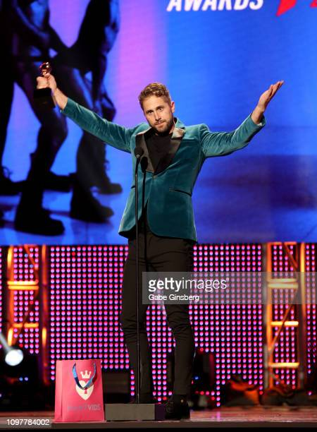 """Adult film actor Wesley Woods reacts to winning the """"Performer of the year"""" award during the 2019 GayVN Awards show at The Joint inside the Hard Rock..."""