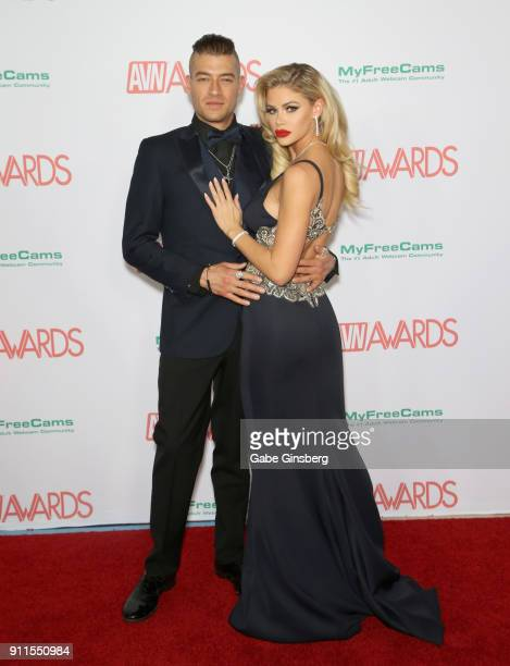 Adult film actor Xander Corvus and adult film actress Jessa Rhodes attend the 2018 Adult Video News Awards at the Hard Rock Hotel Casino on January...