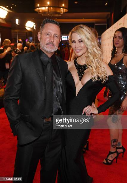 Adult film actor/director Brad Armstrong and his wife adult film actress/director jessica drake attend the 2020 Adult Video News Awards at The Joint...