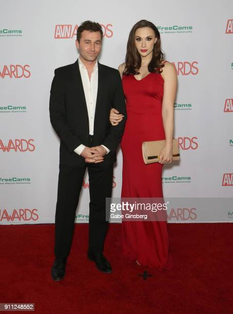 Adult film actor/director James Deen and adult film actress Chanel Preston attend the 2018 Adult Video News Awards at the Hard Rock Hotel Casino on...