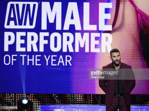 Adult film actor/director Manuel Ferrara accepts award for Male Performer of the Year during the 2019 Adult Video News Awards at The Joint inside the...