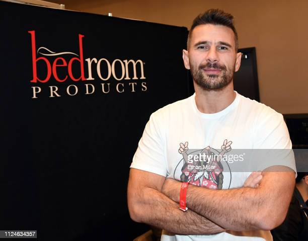 Adult film actor/director Manuel Ferrara poses at the Bedroom Products booth at the 2019 AVN Adult Entertainment Expo at the Hard Rock Hotel Casino...