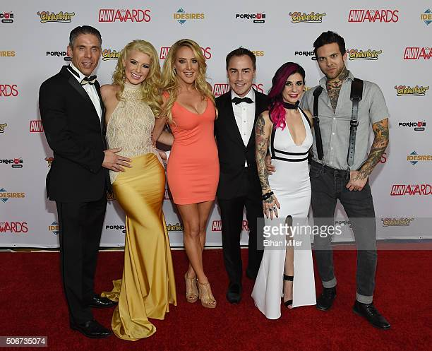 Adult film actor/director Mick Blue cohosts of the 2016 Adult Video News Awards adult film actress Anikka Albrite and comedian/actress Kate Quigley...