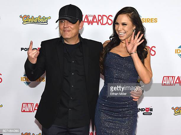 Adult film actor/director Ray Dark and adult film actress Aidra Fox attend the 2016 Adult Video News Awards at the Hard Rock Hotel Casino on January...
