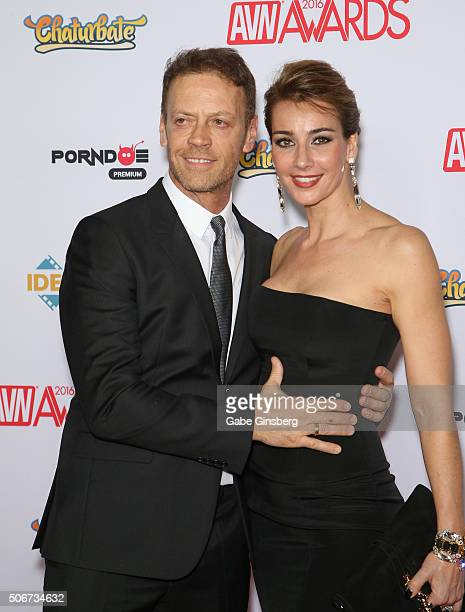 Adult film actor/director Rocco Siffredi and his wife adult film actress Rosa Caracciolo attend the 2016 Adult Video News Awards at the Hard Rock...