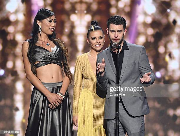 Adult film actor/director Venus Lux adult film actress Adriana Chechik and adult film actor Seth Gamble present the award for Movie of the Year...
