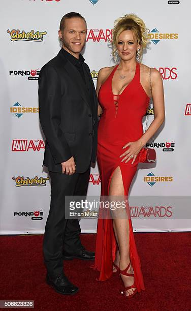 Adult film actor/musician Brendon Miller and his wife, adult film actress/director Stormy Daniels, attend the 2016 Adult Video News Awards at the...