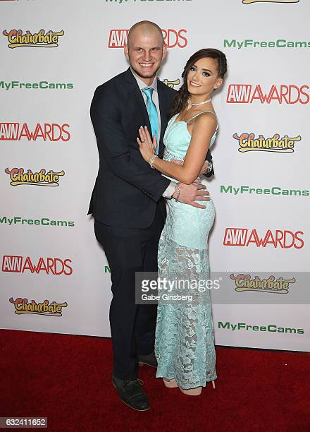 Adult film actor/producer Brian Omally and adult film actress Gia Paige attend the 2017 Adult Video News Awards at the Hard Rock Hotel Casino on...