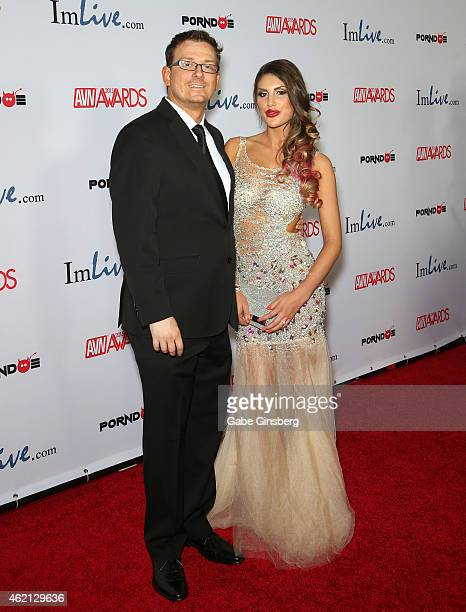 Adult film actor/producer/director Kevin Moore and adult film actress August Ames arrive at the 2015 Adult Video News Awards at the Hard Rock Hotel...