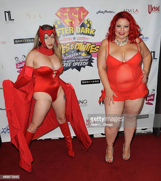 Adult film actors Aiden Starr as Scarlet Witch and April Flores at FSC After Dark 'Capes Panties' A Superhero Costume Lingerie Auction and Silent...