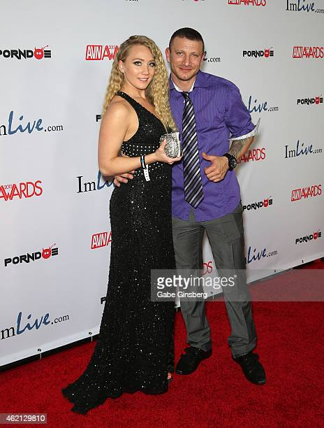 Adult film actors AJ Applegate and Mr Pete arrive at the 2015 Adult Video News Awards at the Hard Rock Hotel Casino on January 24 2015 in Las Vegas...