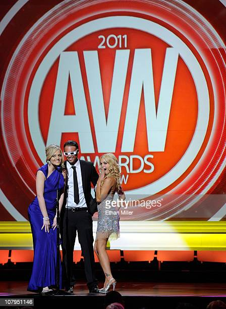 Adult film actors Alexis Texas, Rocco Reed and Jesse Jane present an award at the 28th annual Adult Video News Awards Show at The Pearl concert...