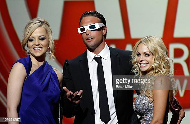 Adult film actors Alexis Texas Rocco Reed and Jesse Jane present an award at the 28th annual Adult Video News Awards Show at The Pearl concert...