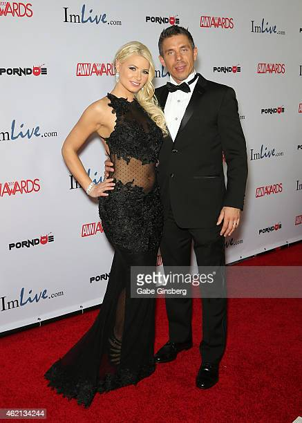Adult film actors Anikka Albrite and Mick Blue arrive at the 2015 Adult Video News Awards at the Hard Rock Hotel Casino on January 24 2015 in Las...