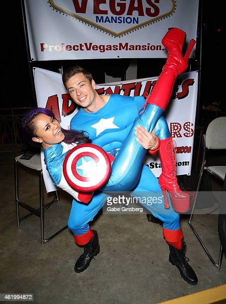 Adult film actors Annie Cruz and Dr D dressed as Captain America from the 'Captain America' movie franchise attend the 2015 AVN Adult Entertainment...